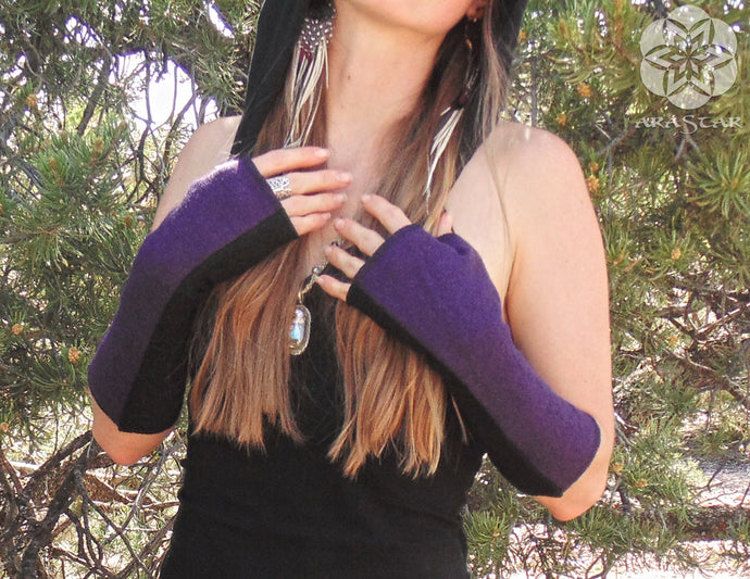 Alpha Arm Warmers: Wool Bamboo Hand Warmers. Lined Fingerless Gloves with Thumbholes