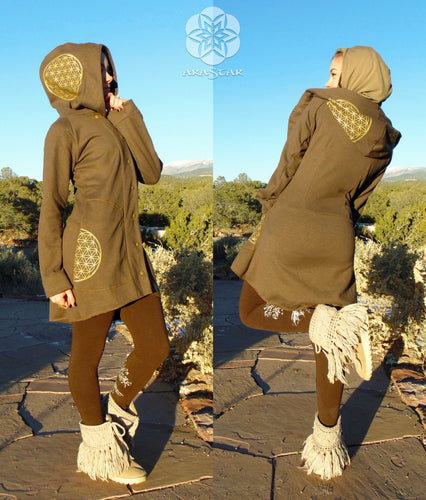 Polaris: Peacoat Hoodie with Flower of Life Screen Prints. Hooded Long Jacket with Gold Sacred Geometry
