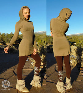 Terebellum: Tunic with billowy hood and long-sleeves. Elvin hi-low mini-dress | Tunics | Made in the USA | AraStarApparel