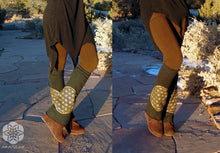 Lepus: Leg Warmers with Flower of Life screen prints. Sacred Geometry flared leg warmers