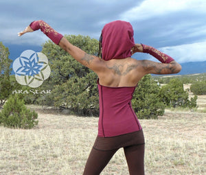 Long Hara Halter: Hooded full length halter top. Backless pixie hoodie top