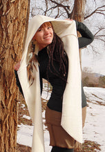 Hydra Hood Scarf: Hooded Wrap Scarf with Flower of Life Prints. Hemp Organic Cotton Fleece