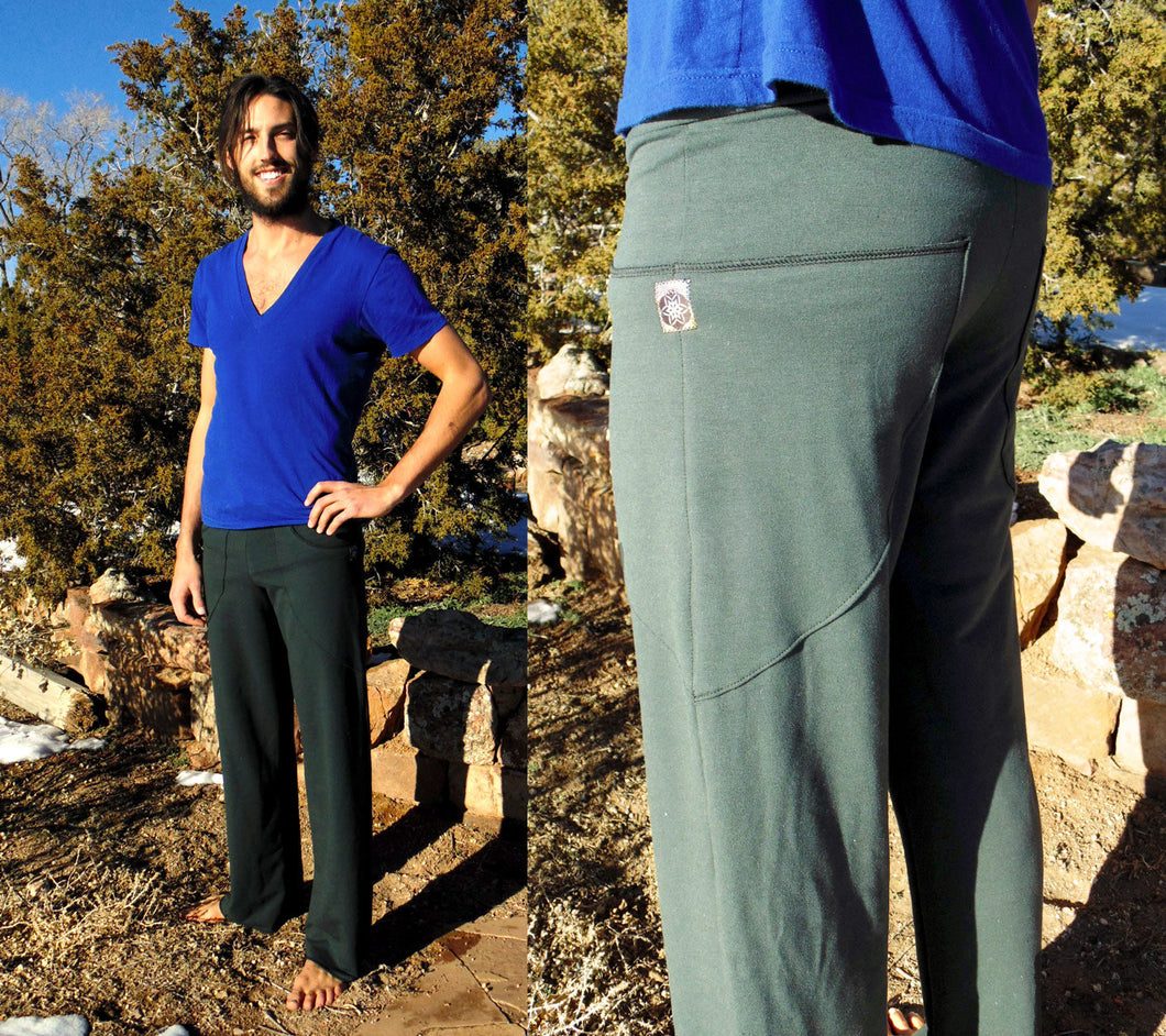 Pictor Pant ~ Men's Yoga Pants with Leaf Shaped Pockets. Drawstring lounge pants | Pants | Made in the USA | AraStarApparel