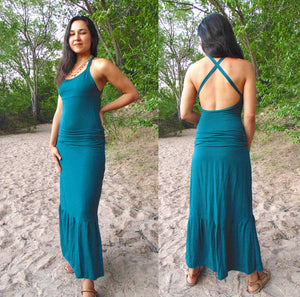Deneb Dress: Backless Maxi Dress with Ruching. Full Length Bamboo Organic Cotton Open Back Dress | Dresses | Made in the USA | AraStarApparel