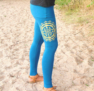 Libra Leggings: Skirted Yoga Pants with Sri Yantra Screenprint. Skirted Yoga Pants. | Leggings | Made in the USA | AraStarApparel