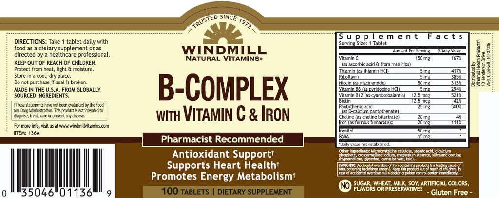 Windmill B Complex With Vitamin C & Iron 100s