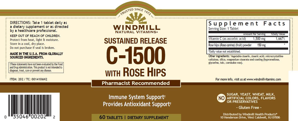 Windmill Vitamin C 1500mg Sustained Release Tablets 60s
