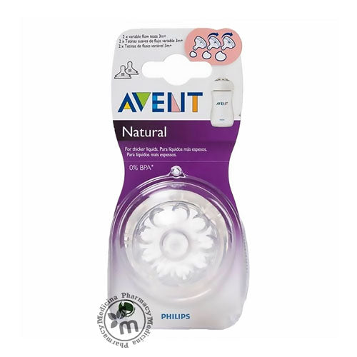 Buy Avent Natural Teats with Variable flow rate 2 pieces in Dubai UAE (1389693534257)