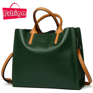 BVLRIGA Genuine leather bag famous brands women messenger bags