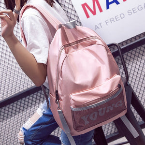 Fashion Women Letter Young Backpack Teenager Girls Nylon School Bag