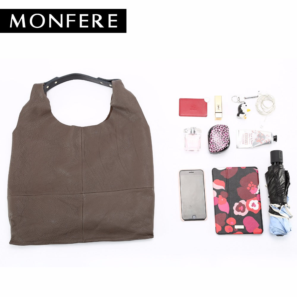 32e3748c52a4 ... MONFERE fashion genuine leather women bag casual HOBO shoulder bags ...