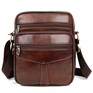 QiBoLu Cow Genuine Leather Messenger Bags Men Travel