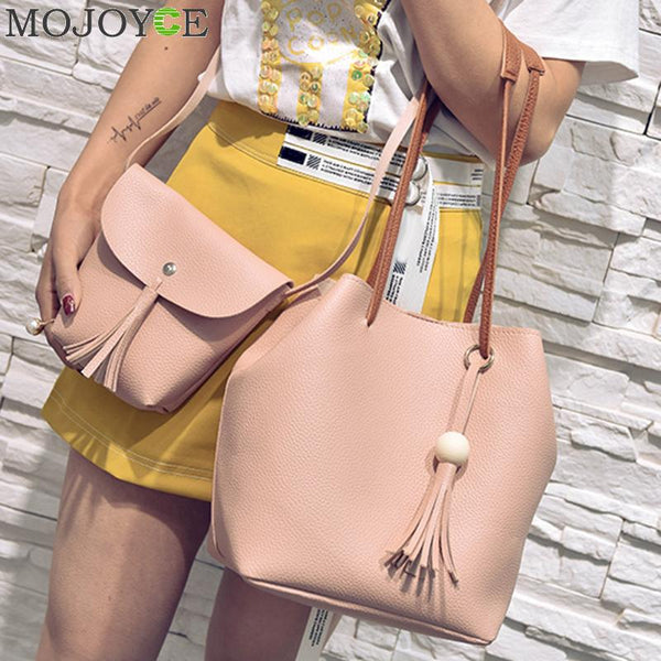4pcs/Set Fashion Women Composite Bag Tassel Pure PU Leather Shoulder Bag Women