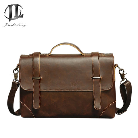 Vintage Men Briefcase Business Handbag Men's Shoulder Bags Crazy Horse