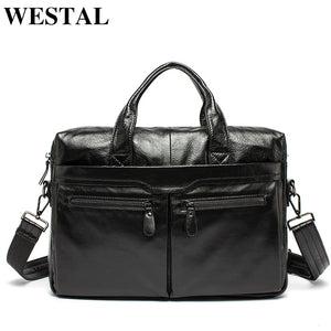 WESTAL Men Briefcase Genuine Leather Shoulder Bags