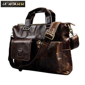 Men Genuine Leather Antique Retro Business Briefcase