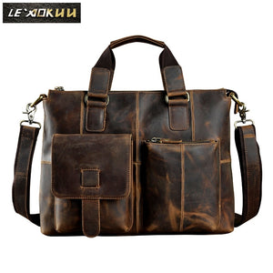 Men Original Leather Design Antique Retro Travel Business Briefcase 15.6""