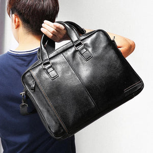 LUENSRO 100% Genuine Leather Briefcase