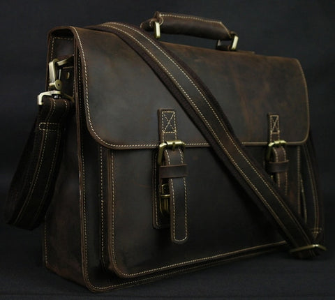 Vintage Crazy Horse Leather Men's Briefcase Laptop Bag