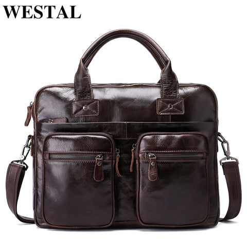 WESTAL messenger bag men genuine leather men shoulder bag Casual Male briefcases