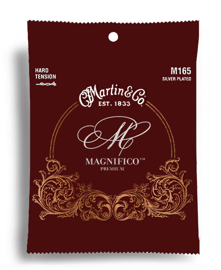 Martin M165 Silver Plated Nylon Classical Guitar String Set Hard Tension
