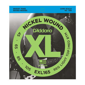 D'Addario EXL165 Reg Light Top/Med Bottom Nickel wound Bass String Set 45-105