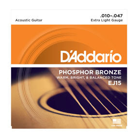 D'addario EJ15 Phosphor Bronze Acoustic Extra Light Guage String Set - .010-.047