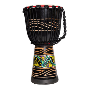 "Drumfire 'Tribal Series' 8"" Natural Hide Traditional Rope Djembe (Black)"
