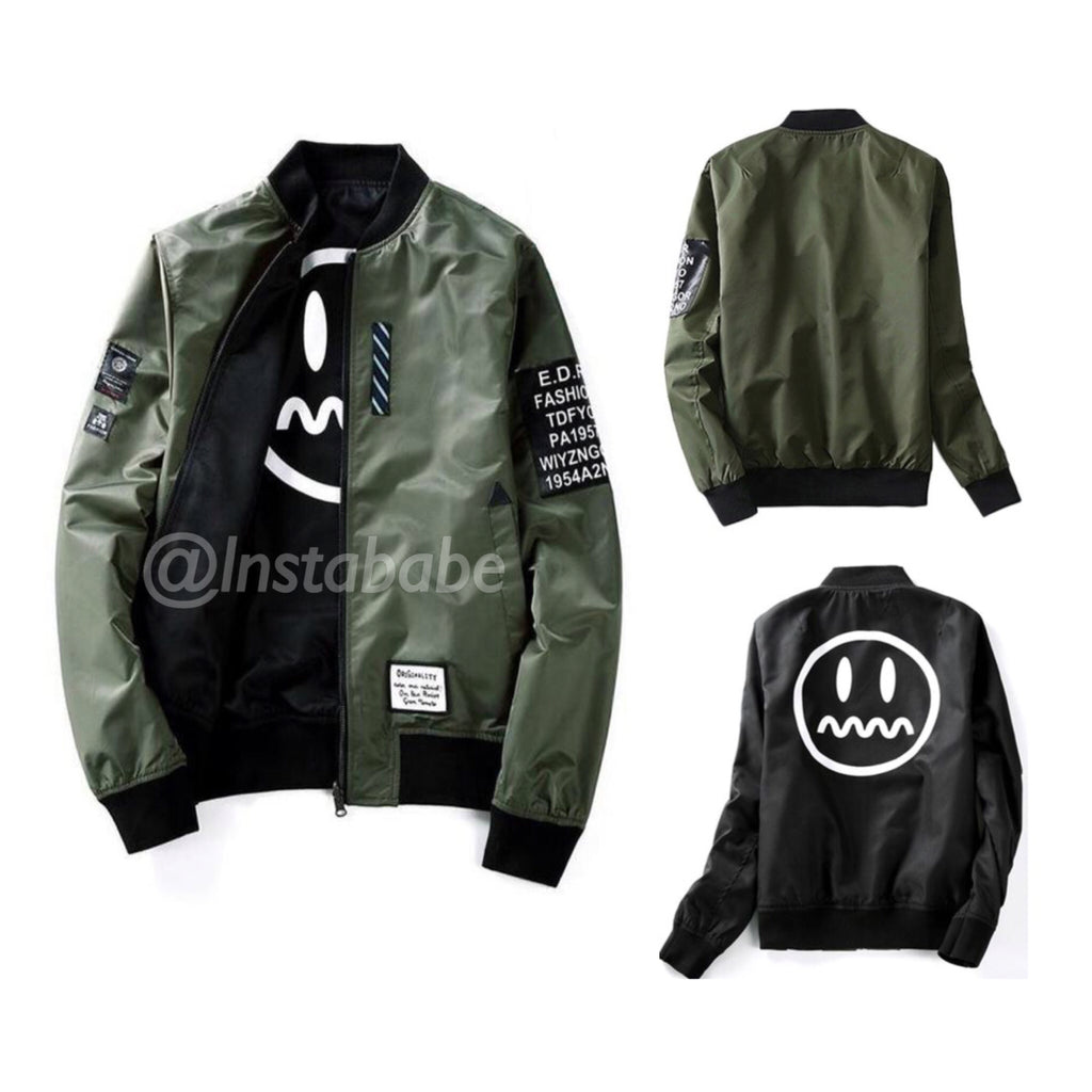 Reversible Bomber Jacket with Patches