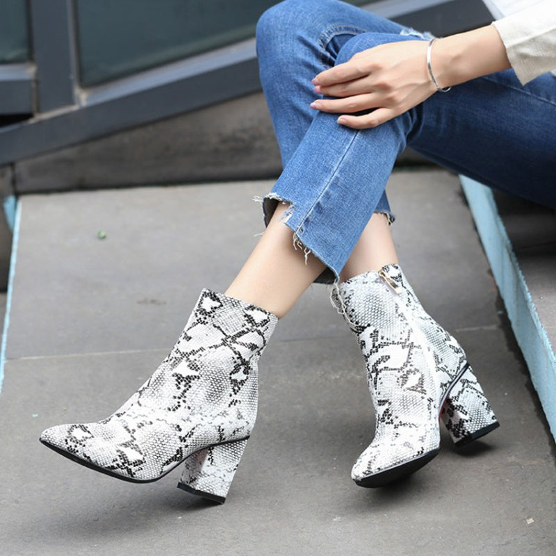 Snake Print Ankle Zip Pointed Boots