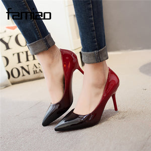 Pointed Toe Patent Leather High Heels