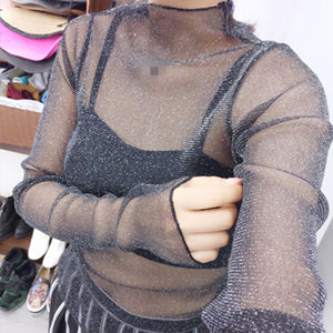 Mesh Transparent Long Sleeve Top