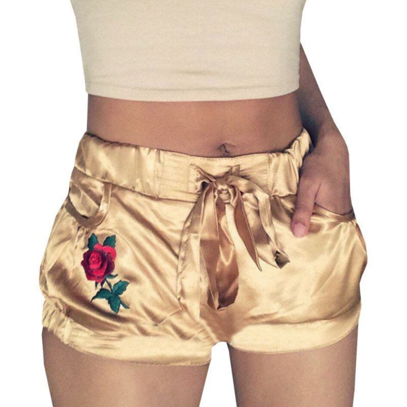Rose Print Casual Gold Pattern Waist Shorts