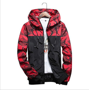 Camouflage Printed Hooded Zip Up Coat