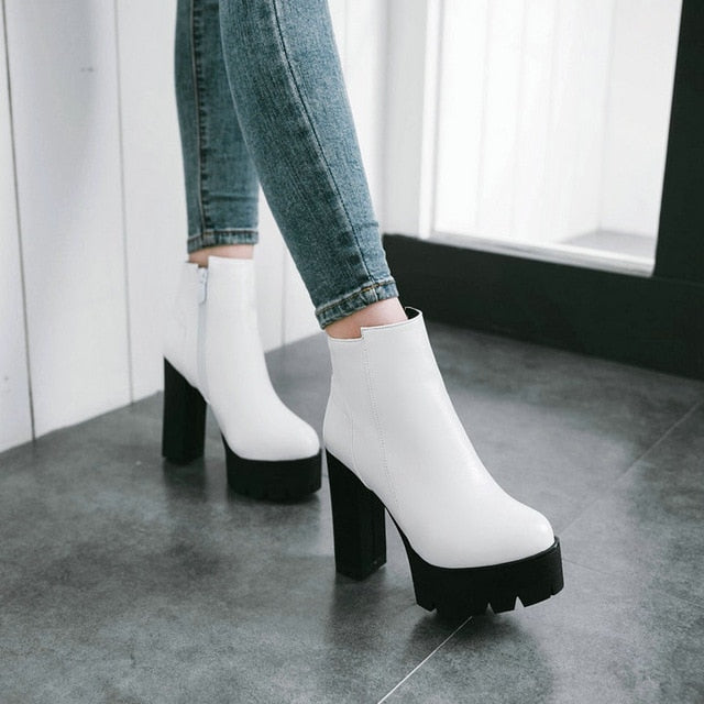 ZipThick High Heels Ankle Boots