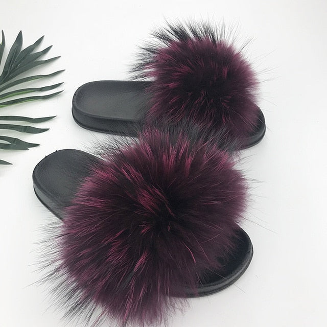 Furry Sliders For Women