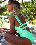 Print Solid One Piece Swimsuit