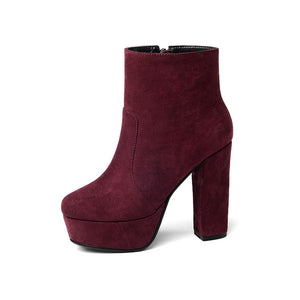Thick High Heels booties Zipped