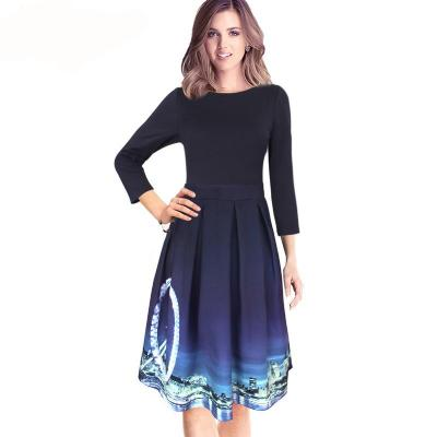 3/4 Sleeve Printed Vintage Fit and Flare A-line Dress - Low Stock