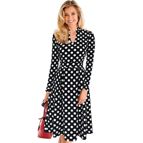 Retro Polka Dot Fit and Flare A-line Dress