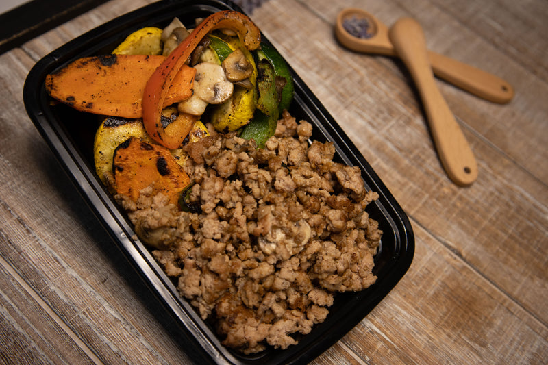 Ground Turkey With Grilled Mushrooms Zucchini Squash And Bell Peppers