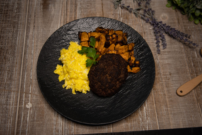 BEEF PATTY, EGGS AND SWEET POTATO CUBES