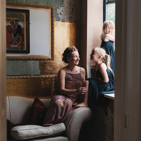 Katy Parkinson from Folk Interiors photographed with her children by Katherine Taylor