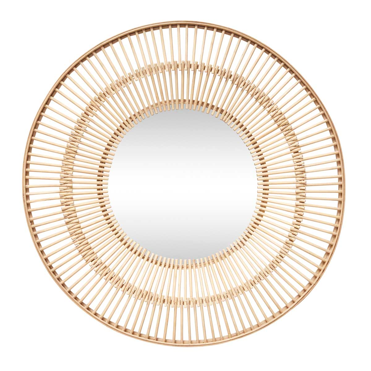 Large bohemian Mirror with Bamboo frame Hübsch