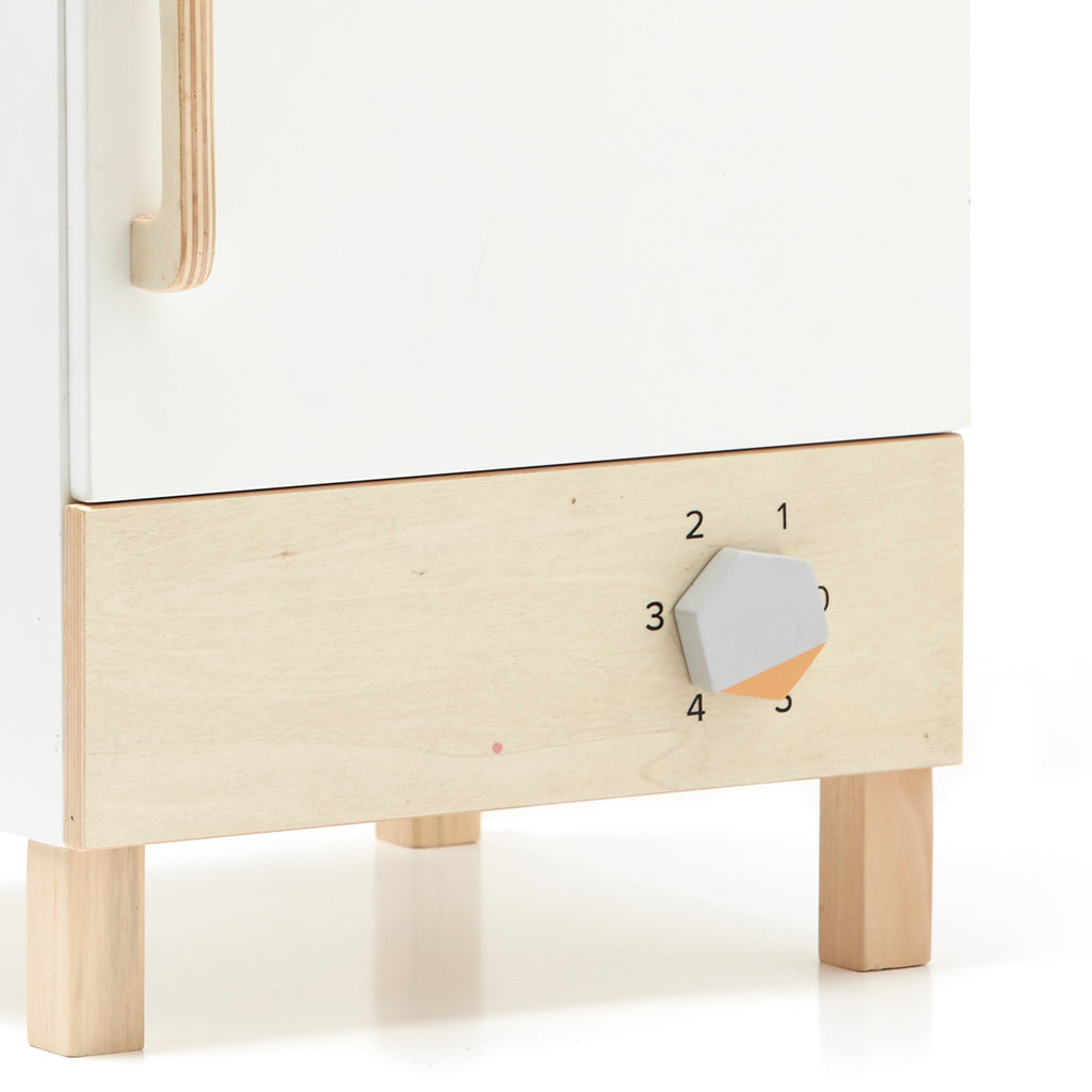 close up of wooden fridge and freezer from Kids concept