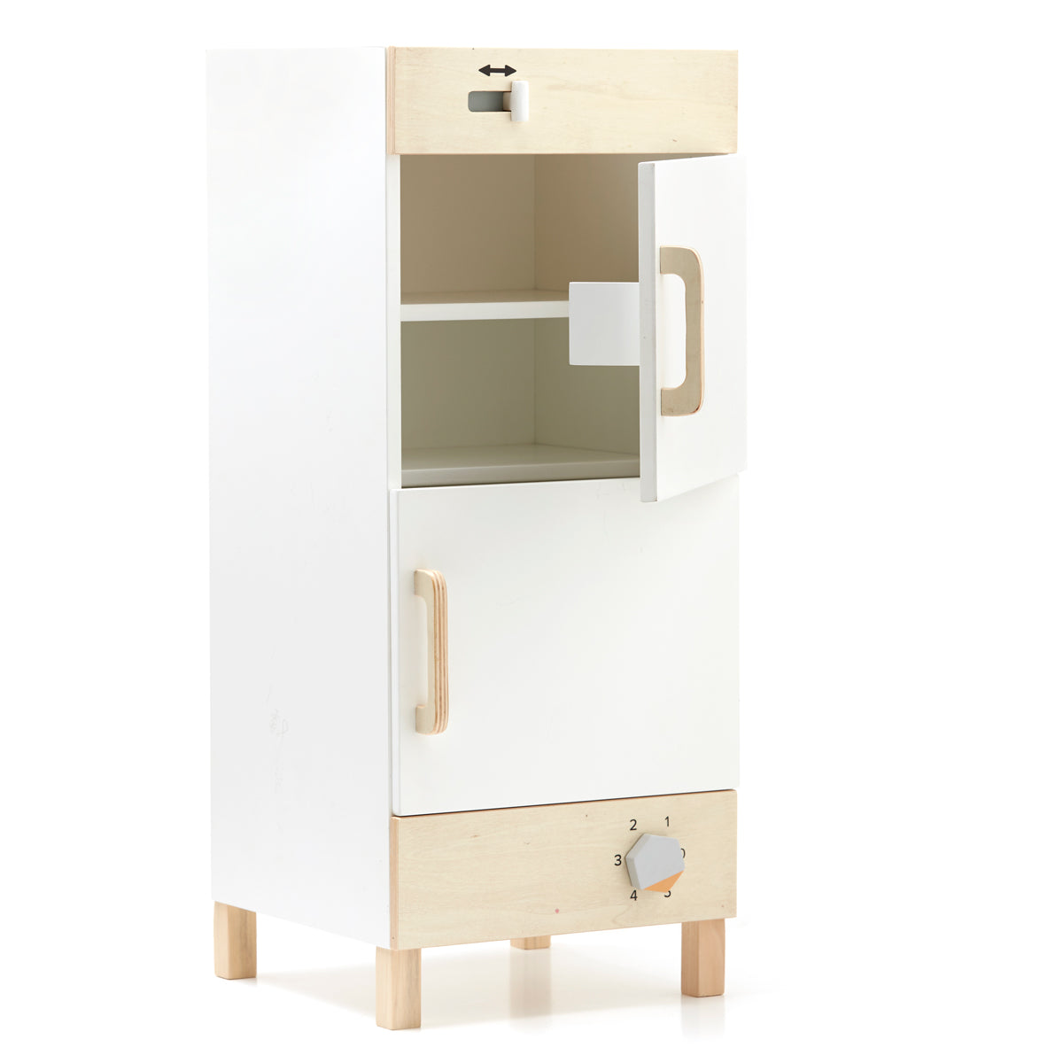 wooden fridge and freezer from kids concept