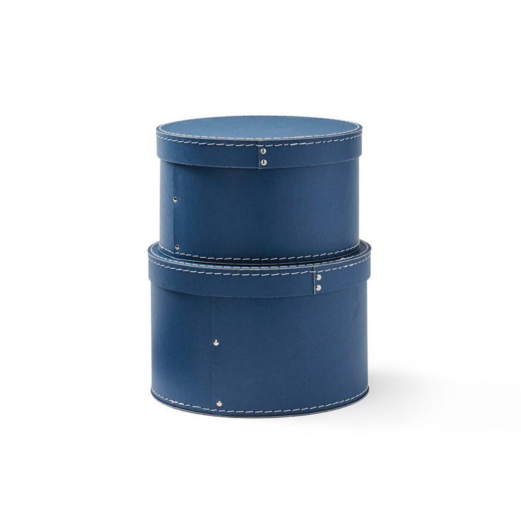 Storage box round 2-set dark blue