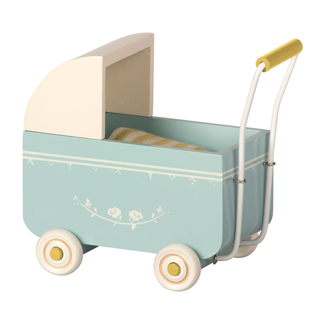 Micro pram in blue maileg