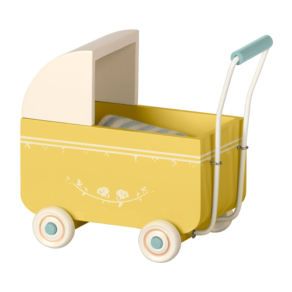 Maileg pram my size yellow miniature dolls house furniture