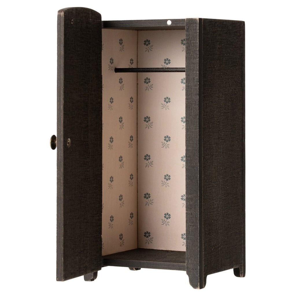 Maileg Vintage closet w. shelves, Mini - Anthracite
